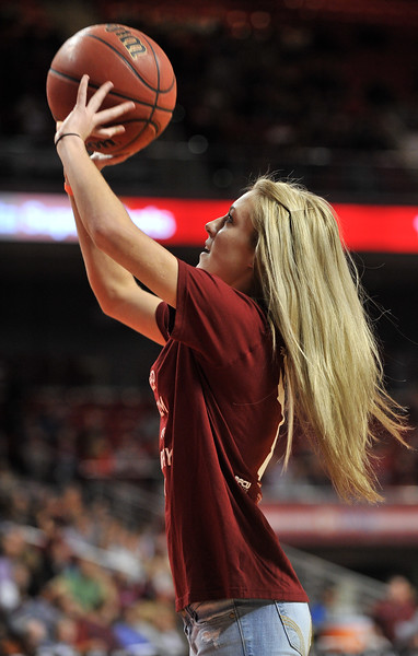 NOVEMBER 11 - PHILADELPHIA: A Temple student competes in an on-court contest during the NCAA basketball game against Kent State November 11, 2013 in Philadelphia