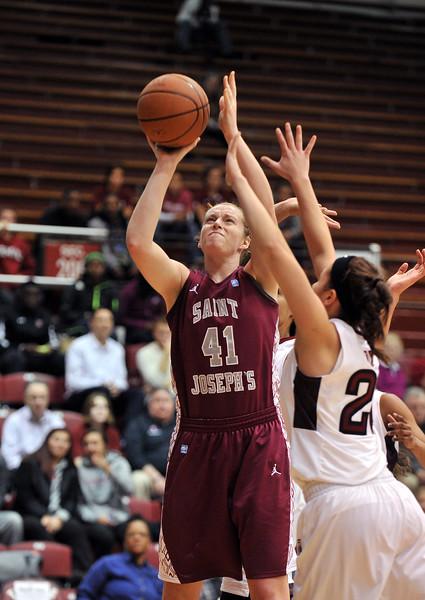PHILADELPHIA - DECEMBER 4: St. Joseph's (PA) Hawks forward Sarah Fairbanks (41) puts up a shot in a Big 5 basketball game December 4, 2013 in Philadelphia.