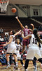 PHILADELPHIA - DECEMBER 4: St. Joseph's (PA) Hawks guard Ciara Andrews (21) puts up a running shot in a Big 5 basketball game December 4, 2013 in Philadelphia.
