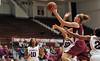 PHILADELPHIA - DECEMBER 4: St. Joseph's (PA) Hawks forward Sarah Fairbanks (41) drives to the basket in a Big 5 basketball game December 4, 2013 in Philadelphia.