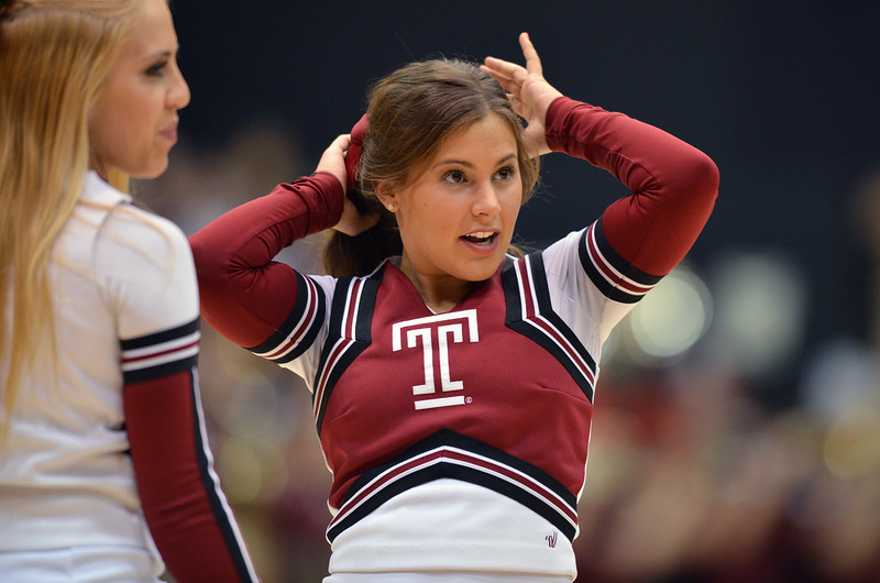 PHILADELPHIA - DECEMBER 4: A Temple cheerleader performs in a Big 5 basketball game December 4, 2013 in Philadelphia.