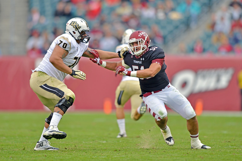 PHILADELPHIA - NOVEMBER 16: Temple defensive end Brandon Chudnoff (51) is blocked on a pass rush during the AAC college football game November 16, 2013 in Philadelphia.