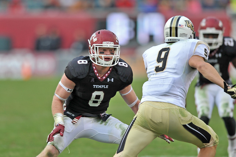 PHILADELPHIA - NOVEMBER 16: Temple linebacker Tyler Matakevich (8) drops into coverage during the AAC college football game November 16, 2013 in Philadelphia.