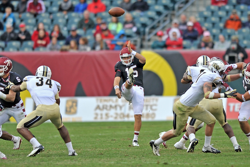 PHILADELPHIA - NOVEMBER 16: Temple punter Paul Layton (15) kicks the ball during the AAC college football game November 16, 2013 in Philadelphia.