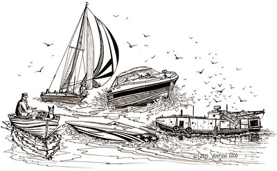 """2006:  """"SAILING THE GREAT LAKES""""   A freighter videographer and publisher of DVD's, who also sailed, had a Great Lakes freighter themed coffee shop in Port Clinton, Ohio, for two or three years.  In 2006 he asked me to do a couple of drawings he could use for t-shirts and coffee mugs.  This one depicts the many small boat water recreations and livelihoods present for those of us who live on the shores of the Inland Seas.  (By the way, that's Harry and Homer in the fishing boat--you'll meet them in the Gallery, PEN & INK/PENCIL CANINE-FELINE DRAWINGS.)"""