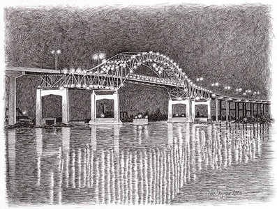 "2003:  ""Blatnik Bridge at Night"".  Commissioned as a set with the Aerial Bridge drawing (it's in Photoshop right now for upgrading)"