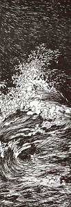 """1993:  I'd written a title poem for the magalog called, """"The Northeast Wind"""", and this drawing was it's illustration.  That poem is not in this website, but is included in one of my books in progress entitled, """"SONGS OF THE INLAND SEAS"""".  Information will be provided about that when I finish my Gallery for LITERARY ARTS, BOOKS IN PROGRESS & CONCEPTUAL.  """"Songs"""" is the book that could be published first through """"Print on Demand Publishing"""" . . . I'd like to accomplish that before fall, 2011.  POD publishing enables newcomers to actually publish a book.  Most POD publishers provide a free template for the author to provide a camera-ready manuscript.  Everything is done electronically and the books can be printed one at a time or ordered in quantity.  Buyers can order them directly from the publisher; and the author doesn't have to spend lots of money for the books with the need of storage as well.  Several other maritime drawings you see here will also appear in """"Songs of the Inland Seas""""."""
