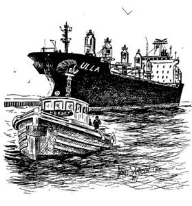 1988:  Great Lakes Tug NEW JERSEY & Foreign saltie, ULLA. At this time I had my maritime art-photo shop on Park Point, at the foot of the Aerial Lift Bridge on the residential side.  This drawing would have been done from a photo I shot from the pier nearby.