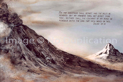 "1980:  ""MT. ST. HELENS"", Isaiah 54:10 . . . Approx. 24x36, Acrylics on Canvas  The explosion of this mountain/volcano moved me to the core to do this painting.  This is a terrible reproduction, which ultimately will be replaced by a digital photo.  If you are interested in a print now, contact:  doris.starofthenorth@gmail.com .   I'll dig the painting out and photograph it pronto.   (Mt. Hood, in Oregon, is in the background.)"