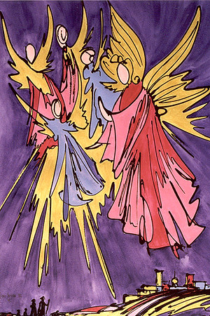 "1982:  ""ANGELS ON HIGH"", Approx. 18x24 Watercolor Paper & Acrylics"