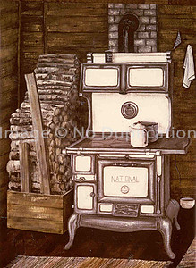 "1978:  ""Turja's Woodstove, Approx 24x30 Acrylics    The homestead's original stove from the earliest Turja family.  Lost in the fire along with the farmhouse."
