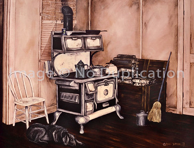 "1973:  ""Grandma's Kitchen"",  24x30 Acrylic    Our dog, Blacky, where she'd lie near the warmth of the woodstove.  Woodbox, kerosene can and broom.  Familiar blue box of iodized salt atop the stove."