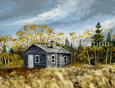 "1975:  ""Sauna in Fall"", 18x24 Acrylic    The sauna may well be the most important structure on a Finnish homestead.  Historically, it is the first building put up after land is acquired.  It has always been one of my favorite buildings on The Farm.  Here it is as I remember it throughout my childhood and into adulthood until the late 1980's when the property was sold to others, primarily for hunting purposes."