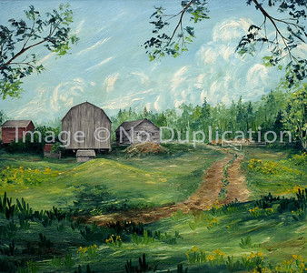 "1967 Oil on hardboard, my first painting of ""The Farm""  Depicting the road that enters through the gate by the woodpile into a large yard circled by buildings.  Seen is the cow barn with the manure pile behind (R), hayloft (M) and (barn red) warehouse (L).  In our foreground behind the hayloft is the pigpen.  To the left of the pigpen, but closer to the hayloft, is the outhouse.  This painting doesn't show distance between the pigpen and other buildings."