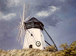 "1976:  ""Finnish Windmill"" on Hwy. 13 a short distance from Superior, Wisconsin.  24x30 Acrylics.  This is a very small file from the only kind of documentation of paintings available to me in the 1970's, a slide.  In spite of working with such an inferior source, Photoshopping the image produced close to accurate colors and good clarity.  This painting was given to family members, the sister of one marrying the grandson of the builder of the historic landmark along Hwy. 13.  I felt the painting was best served in this way.  The windmill was always kept in preservation condition and was eventually turned over to a historical society which maintains it to this day.  I was inside the windmill one time, and took slides.  These are still buried somewhere, but I hope to find them so I can show the structure within with its huge supportive beams."