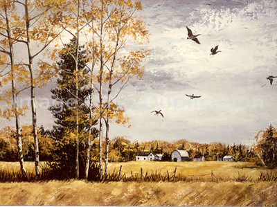 "1976:  ""The Last Day"", Approx 14x16 Acrylic   This painting is a depiction of my mother's description of the day she took her father, my grandfather, from the farm for the last time; destination,  a nursing home.  An October day with overcast gray sky, a flock of honking geese flew overhead, honking their haunting call.  I can't even imagine her emotions and the melancholy of the moment, for this had been her home, too, from her birth in 1919 until her marriage to my father in 1941."