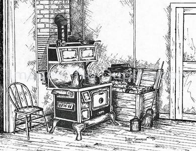 "1976:  ""Grandma's Kitchen"", Pen & Ink"
