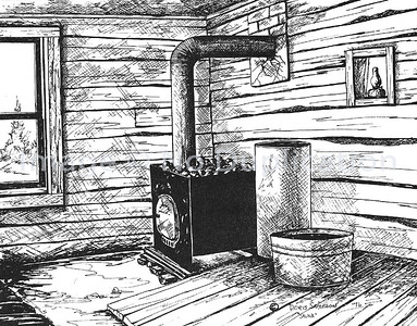 "1976:  ""Sauna Stove"", Pen & Ink"
