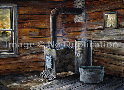 "1976:  ""Sauna Stove"", 18x24 Acrylics  I can feel the heat and steam, and the splash of cooler water from the round aluminum tub!  And I remember the garter snake I saw crawl by in the drainage trough that split the room into two parts.  Behind my vantage point, unseen, are the benches . . . as I recall two levels.  It gets hotter the higher you sit!  This sauna was about as original Old Country as it got!  The kerosene lamp sits on the ledge of a glass window on the dressing room side of the sauna building."