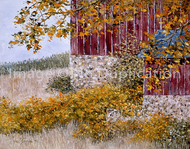"""1995:  """"Barn & Cornfield"""", 16x20 Oil Painting-Knife Technique on Canvas  This barn was located in the area of Beaver Dam, Wisconsin; as I recall along Hwy. 33.  It was one of my favorite rural farm scenes on my drives back and forth from Duluth to West Bend."""