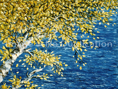 """1993:  """"Birch, Lake Superior"""", 16x20 Oil Painting-Knife Technique on Canvas"""