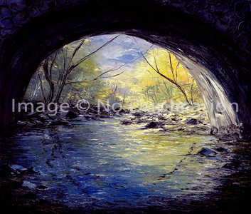 """1988:  """"Under the Stone Bridge"""", along the Seven Bridges Road in eastern Duluth 20x24 Oil Painting-Knife Technique on Canvas"""