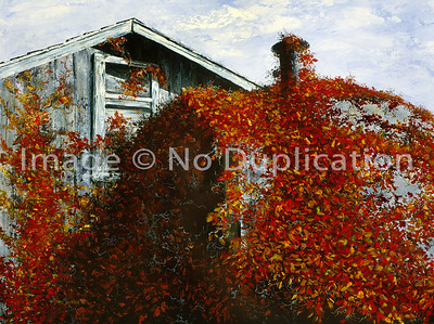 """1992:  """"Autumn's Crown"""", 24x30 Oil Painting-Knife Technique on Canvas  This barn was located on the edge of West Bend, Wisconsin; a wonderful city I lived in between 1991 and 1996.  That area explodes with color in the fall as maple trees are everywhere."""