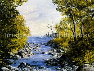 """1992:  """"Lake Superior Tributary"""", 24x30 Oil Painting-Knife Technique on Canvas"""