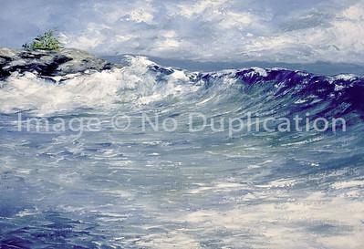 """1990:  """"Hololua Beach"""", Maui Hawaii, 28x40 Oil Painting-Knife Technique on Canvas"""