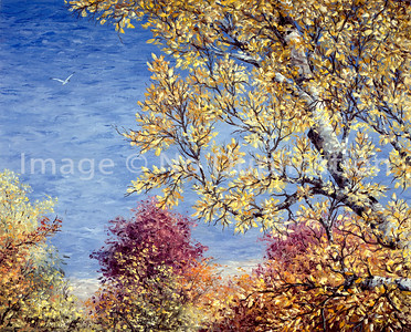 """1993:  """"Indian Summer"""", 24x30 Oil Painting-Knife Technique on Canvas  Typical scenery along the Lake Superior North Shore Drive."""