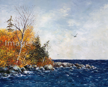 """1995:  """"North Shore, Fall""""; 20x24 Oil Painting-Knife Technique on Canvas  This was a commission ordered from Woodbridge, Virginia."""