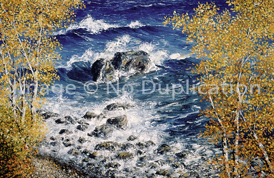 """1995:  """"September on Superior"""", 24x36 Oil Painting-Knife Technique on Canvas  This 4x5 negative or transparency, too, was in such condition that it took a LOT of fixing to bring the original image out.  If you think your old negatives are safe from aging destruction , likely they are not!"""