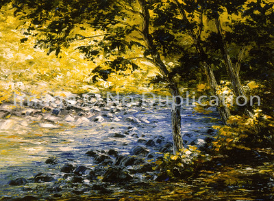 """1988:  """"Gooseberry River"""", 18x24 Oil Painting-Knife Technique on Canvas"""