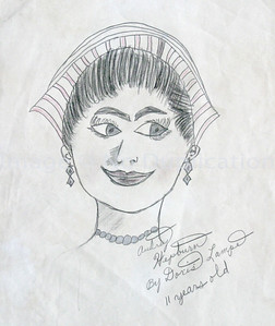 1954-55, Age 11: Pencil Portrait of famous actress Audrey Hepburn