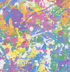 """Spring"".  Original was painted on a 60"" x 6-yard long roll of canvas.  Literally going back to my childhood--it could have been grade school or junior high . . . but I think this particular filming of Jackson Pollock working his art actually dates to 1954 (I need to ascertain facts here) . . . I remember seeing, in school, the black and white newsreel of  Pollock drizzling his paint on a huge canvas flat on the floor.  For some reason, which I tend to believe was Destiny, I never forgot that.  And I became an Artist with this stored in the back of my mind . . . as in, ""I like Jackson Pollock's paintings!"" . . . as in, here and now, in this classroom setting, I could play Pollock!!!  Big time!!!    The colors I chose were all pastels, the paint started out with white flat wall paint; and I tinted separate batches in separate containers.  Next, proceeding to drip, drop, drizzle, splash all the colors uniformly back and forth across the entire roll of canvas on the floor.  OhmyGod, did I have fun!  Setting the stage to Forever!  I would Jackson my way into the future!  Well . . . eventually.    But what is so special about this painting is this:  I cut it into 150 pieces and signed/numbered all.  Everyone in that painting class got a painting!  Somewhere across this Earth, we are scattered like a small, specific family of owners of pieces of ""Spring""!  And I can truthfully say ""Earth"" as one of the students was from Qatar.  At that time I'd never heard of the nation.  In this decade when Qatar has played importantly on the Middle East stage, I've thought about him and wondered where he is today, what he is doing.  And whether he still has his part of ""Spring"".  I kept one large piece of ""Spring"", about 24x30; and there are about three other small pieces left.  Maybe someday when I get 'famous' I'll auction them off and buy a car with the money!"