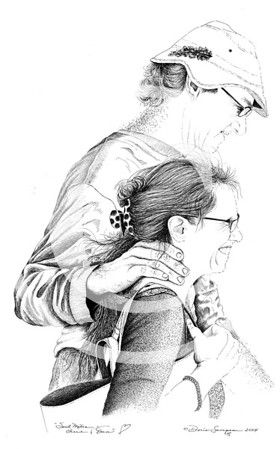 "2004:  ""Cherie & Dan"" . . . my firstborn daughter and her soul mate, Dan.  They've since tied the knot!  This drawing was such a joy to create from a photo I took of them walking across a street in Hannibal, MO; along a preserved cluster of shops and other buildings referencing Mark Twain."