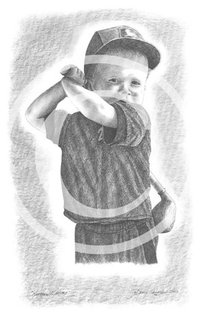 "2003:  ""Matthew"" . . . this little tyke was a whiz at his pint-sized game of golf!  The drawing was commissioned by his grandpa."