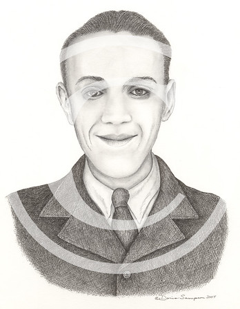 "2004:  ""Uncle"" . . . a combination of two old photos. One, in WWII uniform, where the smile came from; and two, in this suit.  Long since passed away, the drawing was commissioned by a nephew."