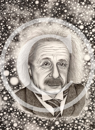 "2007:  ""Albert Einstein ... IMAGINATION!""  Approx 18x24 Pen & Ink/Pencil Drawing  I used three photo sources, blending them together to create my unique, original image.  SO much of my ""messages"" about Art, and through Art, are all about IMAGINATION . . . so doing this drawing was very meaningful for me.  While it was finished in 2007, I started it five years earlier, in 2002.  Often it sat there for months at a time.  But when I worked at it, you may or may not be able to tell that the space and star field around Einstein was 100% created by one stipple of the pen point at a time.  I'd love to have a dollar for every one of those tiny, tiny dots!  I'd prefer to not sell the Original and instead preserve it in my Permanent Collection for my vision to found the CREATIVE CIRCLE MUSEUM OF ART.  (See the Gallery for VISION: CREATIVE CIRCLE MUSEUM OF ART for more information.)  However, absolutely NOTHING can be done with the image until I've passed it through whatever entity is the owner of the image of Albert Einstein.  I must get copyright clearance for my image; and in doing so they may require me to share its use with them.  I know NOTHING yet.  But because this absolutely is one of my lifetime CAREER MASTERPIECES, I want to begin to show it here in this website."