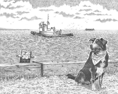 "2003:  ""Captain & Sea Colt""  I photographed Captain for this drawing near the end of the dog's life; he had cancer.  Captain and the ""Sea Colt"" tug were/are owned by Ed and Jeanne Montgomery of Superior, Wisconsin.  The tug would ferry crew and materials back and forth, to and from, the salties--foreign freighters; and in his sailing days, Captain was a regular aboard."