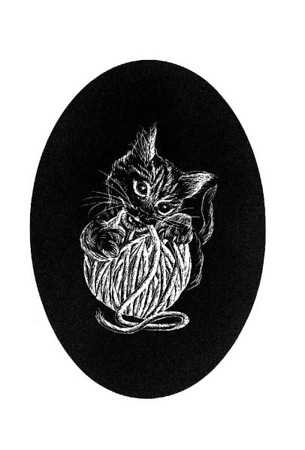 """Cat with Ball of Yarn"" Probably 1984-85, when I was working for a time with scratchboard drawings."