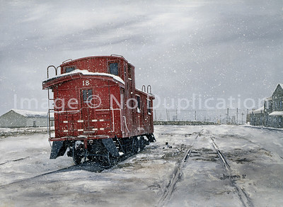 "1982:  ""LST&TR Red Wood Caboose"", Superior WI.  This sat behind the Union Depot for many years in the era I started to do train paintings.  I  did this painting from photos I took. There is MUCH to this story which is not posted here yet...I'm still working on updating this huge website!  In-Studio Giclee Art Prints in any size up to 17x22 paper size can be ordered."