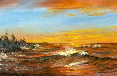 """""""Lake Superior Sunrise"""", Acrylics.  A sailor aboard the SS J. L. Mauthe bought this painting from me many years agao."""