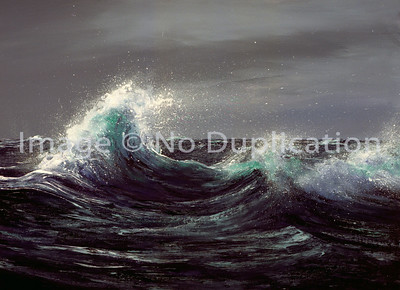 """1988:  """"Whitecaps"""", Acrylics.  Unfortunately, this reproduction came from the only source I had, a very bad quality slide.  The colors here are way off, but the composition is still great."""