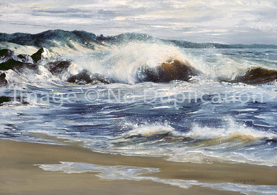 """1991:  """"Indiana Dunes"""", Acrylics.  I had access to the beautiful beaches of the Indiana Dunes for a period of time.  Loved visits there!  as I recall this location was on the boundary of Michigan City, Indiana."""