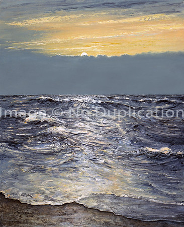 """2001:  """"Wind's off the Lake"""", Oils . . . actually, I did this painting from a photo I took at dawn on the Atlantic Coast on Assatigue Island--a National Seashore, as I recall."""