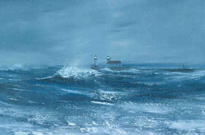 """""""November Storm"""", Duluth Piers; Acrylics"""