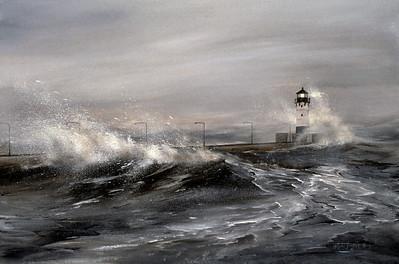 "1992:  ""North Pier, Lake Superior Storm"""