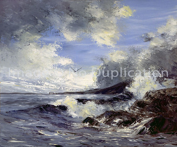 """1988:  """"Aerial Bridge, Rocks & Waves"""", Acrylics.  Part of a set with the Split Rock painting.  Size of canvases was 20x24."""