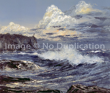 "1988:  ""Split Rock"", 20x24 Acrylics . . . Set with ""Aerial Bridge, Rocks and Waves"""